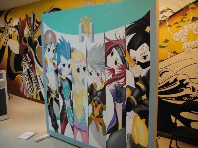 简约创意手绘墙画图片
