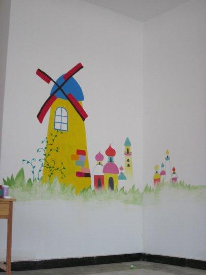 厨房里面绘制一幅精美的墙绘