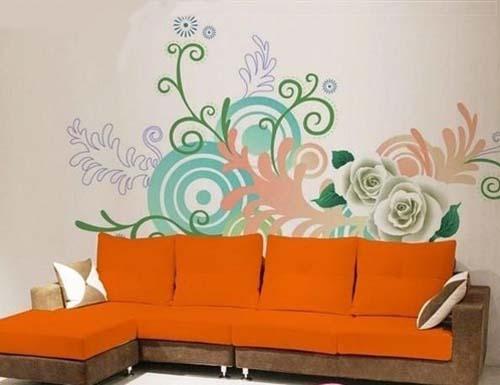 一个华丽和精美的家庭办公室手绘墙可以带来良好的感官